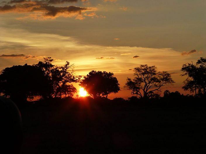Wunderschöner Sonnenuntergang im Delta. Botswana